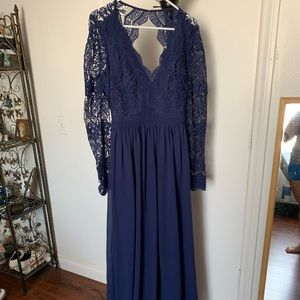 Awaken my love navy blue long sleeve lace maxi